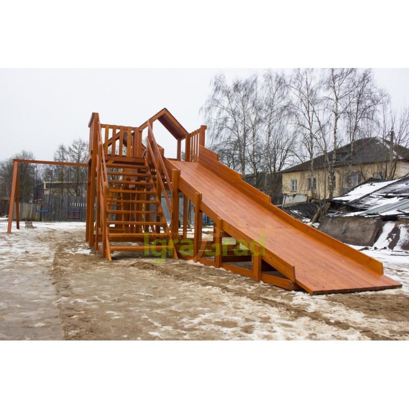 Детская деревянная зимняя горка Snow Fox 5,9 м + Панда Фани Gride