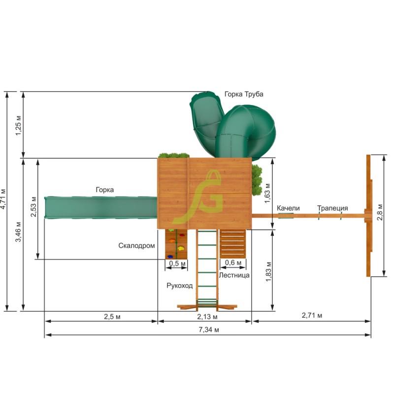 Детская площадка IgraGrad Клубный домик 2 с трубой и рукоходом Luxe