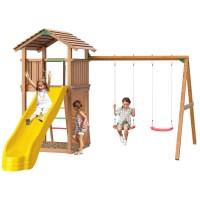 Детский игровой спортивный комплекс Jungle Gym Jungle Cottage + Swing Module Xtra + Rock