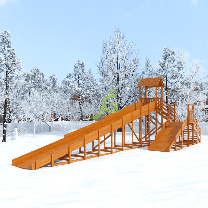"""Зимняя деревянная горка """"Snow Fox 12 м"""" с двумя скатами"""