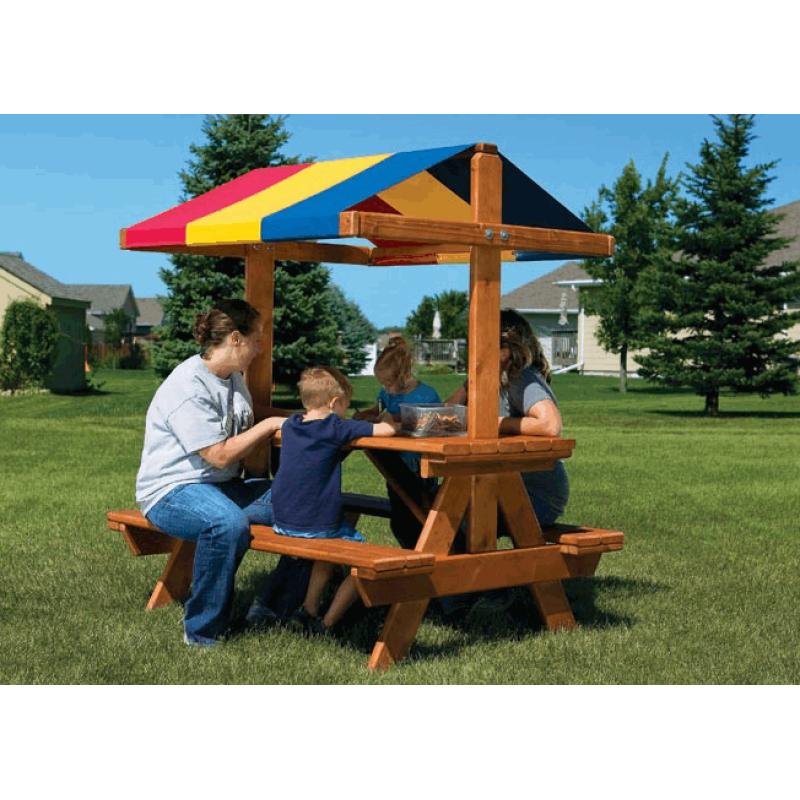 Уютный столик со скамейками и тентом Rainbow (Cozy Picnic Table RYB)